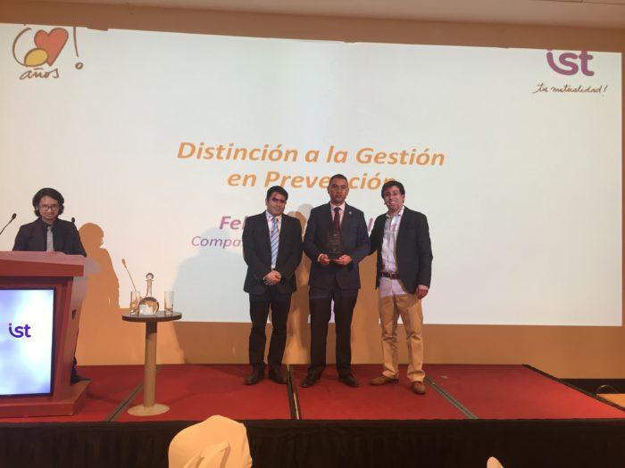 Distinción a la Gestión en Prevención - Felipe Tapia de CAP Minería, Planta Magnetita