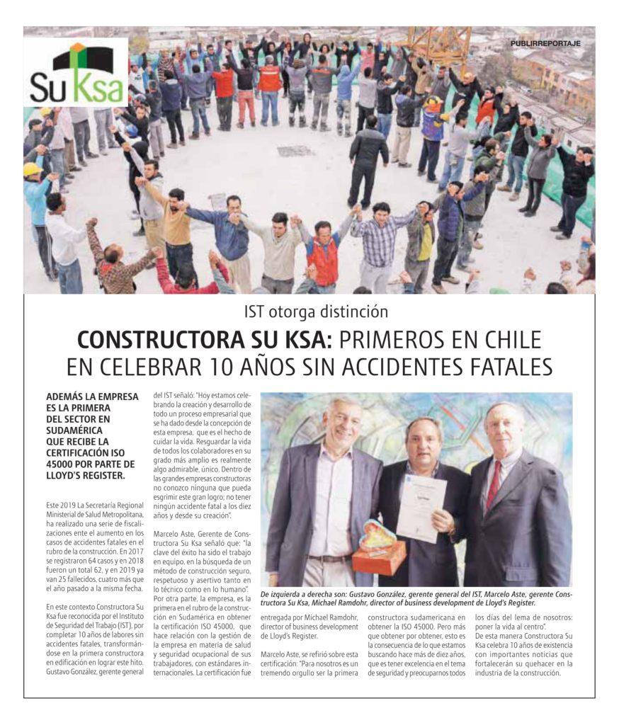 Constructora SU KSA celebra 10 años sin accidentes fatales