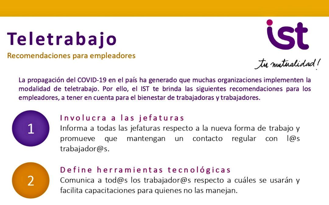 CoVID-19: Teletrabajo, recomendaciones para empleadores