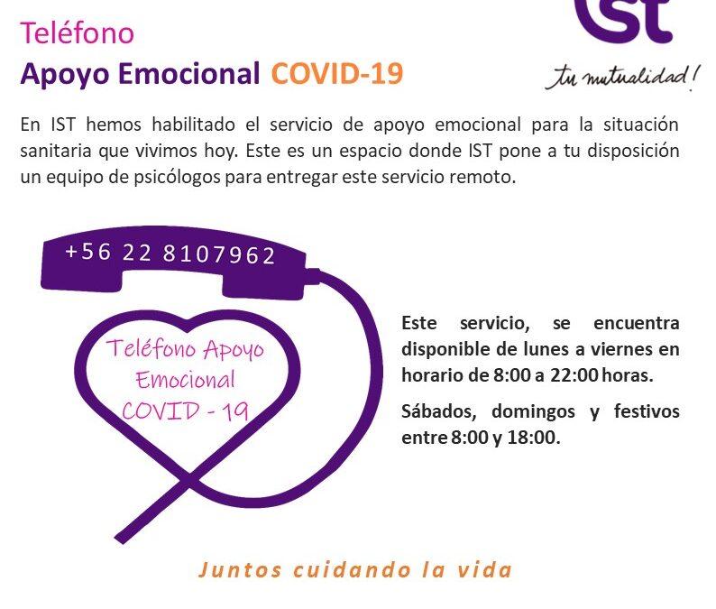 COVID-19: IST implementa fono Apoyo Emocional +56 22810 7962
